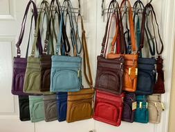 15 COLORS - Roma Leathers 6 Compartment 100% CROSSBODY LEATH