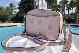 Coach 29347 Pink Floral Bow Print Leather Crossbody Camera B