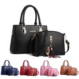 2set Women's PU Leather Handbag Shoulder Large Capacity Tote
