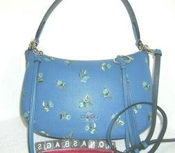 Coach 55373 Slate Blue Floral Embossed Leather Sutton Should