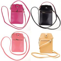 """6.75"""" Leather Crossbody Bag Phone Pouch Purse Case For iPhon"""
