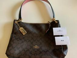 Coach Mia Signature Shoulder Bag Crossbody Purse F28967 Brow