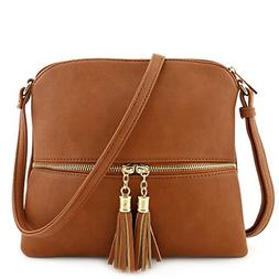 Deluxity Lightweight Medium Crossbody Bag with Tassel, Tan