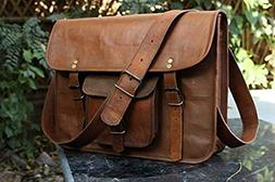 HLC Leather Unisex Real Leather Messenger Bag for Laptop Bri