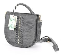 Isabelle 81195 Black Washed Out Gray Worn Crossbody Bag BT11