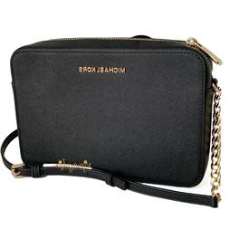 Michael Kors Jet Set Large East West Crossbody Black Saffian