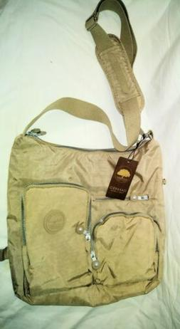 Oakarbo Nylon Multi-Pocket Crossbody Bag Tan new with tags