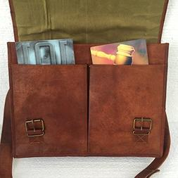 "PL Leather Messenger Bag 16"" / Brown Leather Briefcase/Retro"