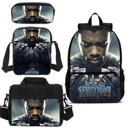 Set of 3 17 inch Black Panther Boy Backpack Book Bag Lunch B