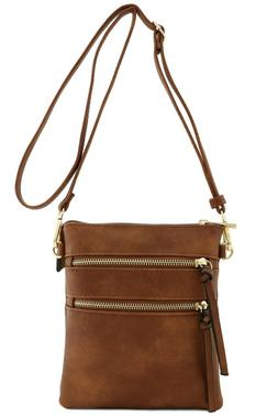 Top Quality Functional Multi Pocket Crossbody Bag Brown for