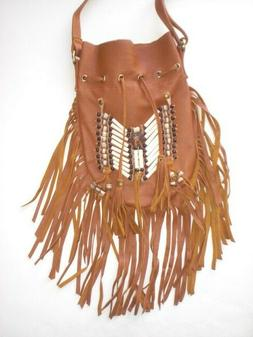 Native American style Crossbody bag. Tan Indian Leather Hang
