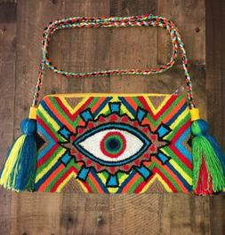 Authentic 100% Wayuu Crossbody Clutch Bag Medium Size Multic