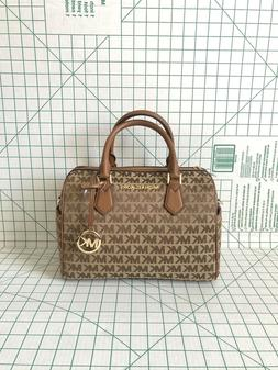 MICHAEL KORS BEDFORD JACQUARD LEATHER SATCHEL DUFFLE SHOULDE