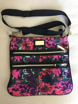 Betsy Johnson Medium Pink Floral  Print Crossbody Bag Purse