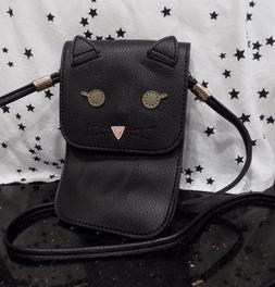 Black Cat Small Purse Peta Approved Vegan Slim Crossbody Bag