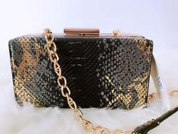 ISABELLE Black/Gold Snake-Like Handbag  Shoulder bag Crossbo