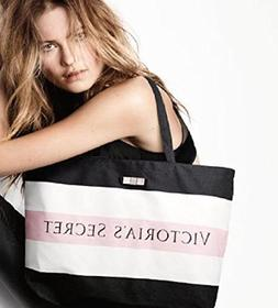Victoria's Secret Black White and Pink Striped Tote Bag