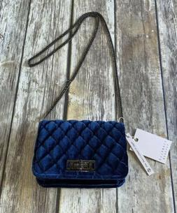 Isabelle Blue Velvet Quilted Crossbody Bag Purse Gunmetal Ch