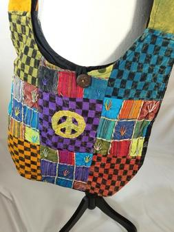 Boho Crossbody Sling Bag Purse Shoulder Peace sign Block Pat