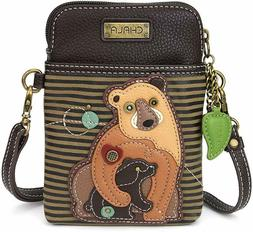 Brown Faux Leather Crossbody Chala Cell Phone Wallet Purse H