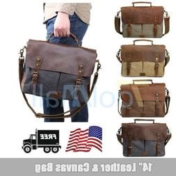 "Canvas Leather 14"" Laptop Briefcase Men CrossBody Shoulder M"
