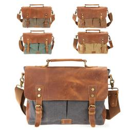 Canvas Leather Briefcase CrossBody Laptop Shoulder Messenger