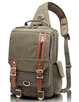 KAUKKO Canvas One Strap Sling Cross Body Laptop Messenger Ba