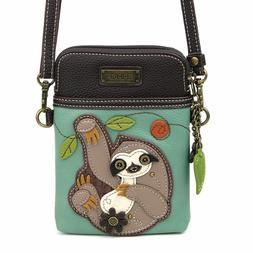 cell phone crossbody bag sloth teal blue