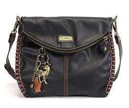 Chala Charming Black Crossbody Bag With Flap Top and Zipper