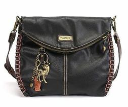 Chala Charming Black Crossbody Bag With Flap and Slim Cat Me