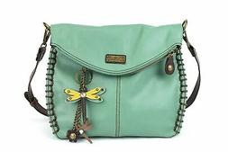 charming teal crossbody bag with flap top