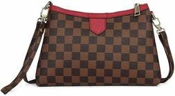 Checkered Crossbody Bag with Wristlet Clutch and Strap High