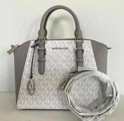 Michael Kors Ciara Bright White Grey Medium Messenger Satche