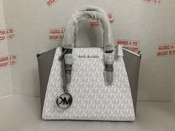 Michael Kors Ciara Bright White MK Medium Messenger Satchel