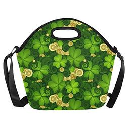 Clover and Gold Coin Reusable Insulated Neoprene Lunch Tote