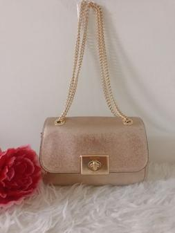 Coach Crinkle Metallic Leather Cassidy Chain Shoulder Crossb