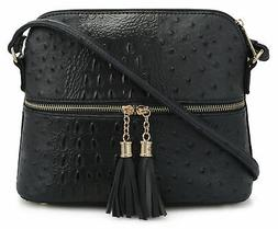 Deluxity Crocodile Pattern Lightweight Medium Dome Crossbody