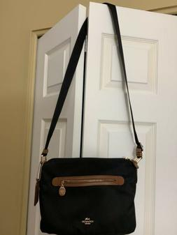 Coach Crossbody Bag - Black/Brown Trim Imitation Gold Hardwa