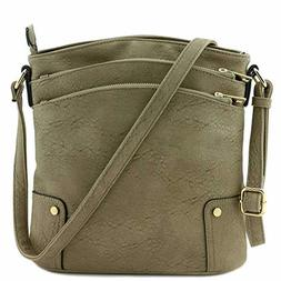 Crossbody Bag Triple Zip Pocket Large