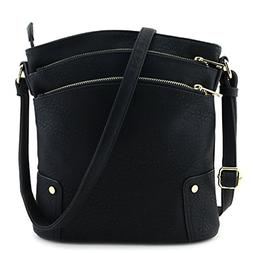 crossbody bags for women Large, Triple Zip Pocket Black,Faux