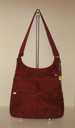 TRAVELON CROSSBODY CITY MESSENGER BAG, WINE/BURGUNDY