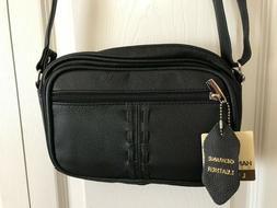 """Roma Leathers Crossbody Leather Bag """"Wallet"""" Compartment + 3"""