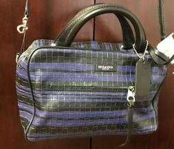 Coach Crossbody Leather Purplish Blue Black Bag New Woman