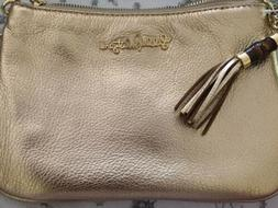 LILLY PULITZER CRUSIN CROSSBODY BAG GOLD METALLIC LEATHER NW