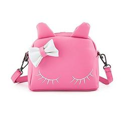 Pinky Family Cute Cat Ear Kids Handbags Candy Color Crossbod