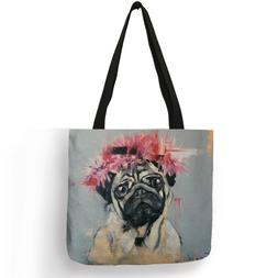 Cute Pug Dog Printing Reusable Shopping <font><b>Bags</b></f