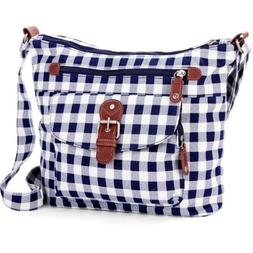Denim Blue Plaid Medium Crossbody Shoulder Purse Bag Casual