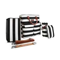 6pcs Baby Diaper Bags Set,Large Capacity,Primebabe Striped N