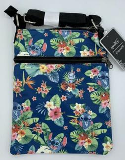 Disney Loungefly Lilo and Stitch Blue Floral Passport Bag Cr