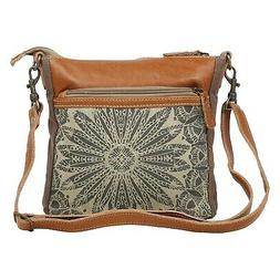 Myra Bag Dizzy Circle Upcycled Canvas & Leather Small Crossb